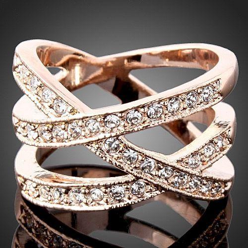 pájaros de cristal anillo del dedo nido swarovski oro rosa